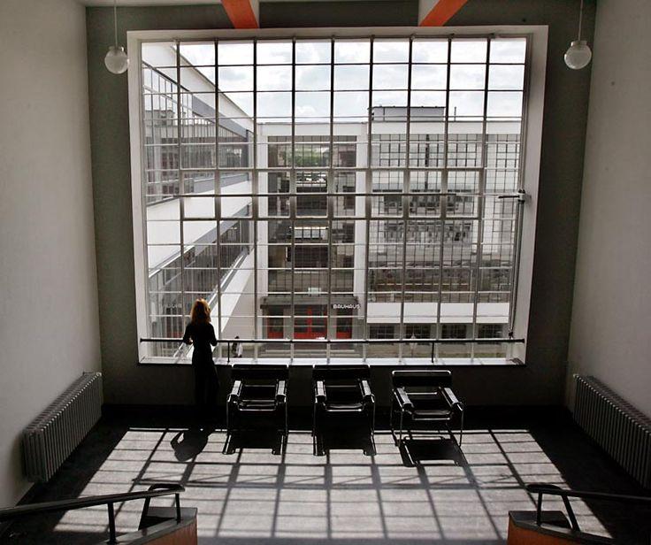 Walter Gropius - The Bauhaus school in Dessau. A view inside the Bauhaus school in Dessau.