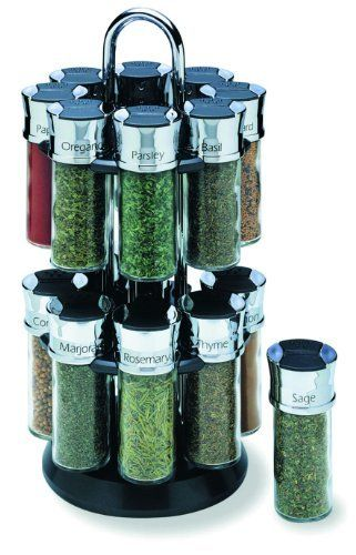 Olde Thompson 16-Jar Chrome Carousel Spice Rack, http://www.amazon.com/dp/B00015CLP6/ref=cm_sw_r_pi_awdm_jdSVwb13PQP3M