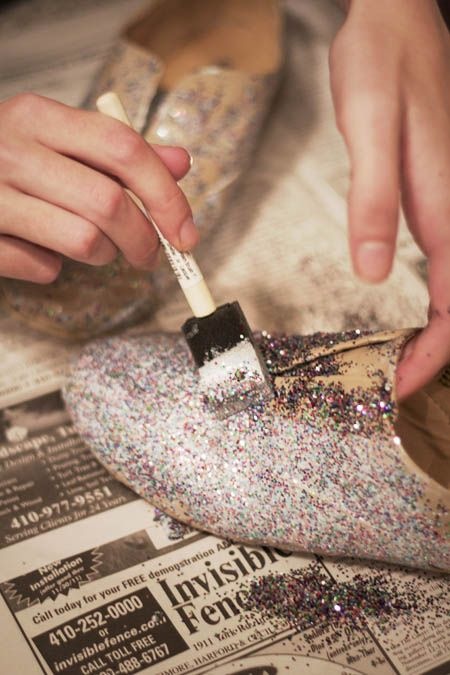 DIY glitter your own shoes! You can do this with pumps for New Years! Great tutorial.