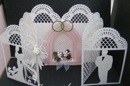Wedding Delight Door Card ROBO Cameo on Craftsuprint designed by Tina Fitch - Beautiful cascading wedding card, bride