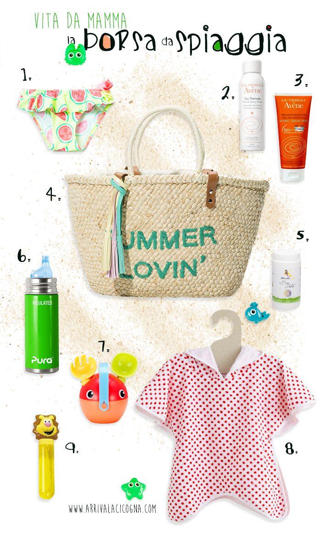 la mia borsa da spiaggia (con bimbi al seguito)  www.ArrivaLaCicogna.com