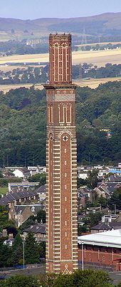 Cox's Stack, a chimney from the former Camperdown works jute mill. The chimney takes its name from jute baron James Cox who later became Lord Provost of the city