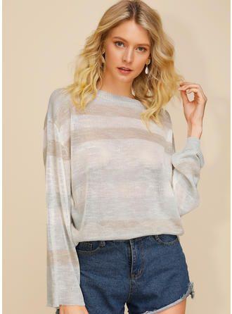 Striped Round Neck Sweaters (1002273636)