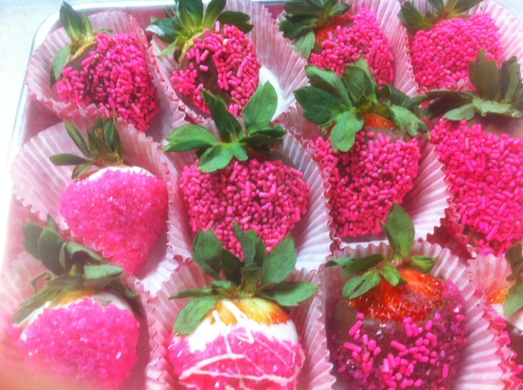 Pink sweetness, White chocolate dipped strawberries, rolled in pink crystal sugar. The Texas Pie Company