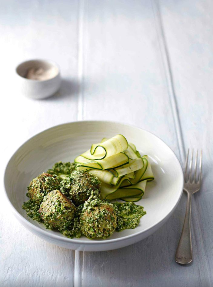 Quinoa, Almond Ricotta 'Meatballs' with Zucchini Pasta by The Whole Pantry