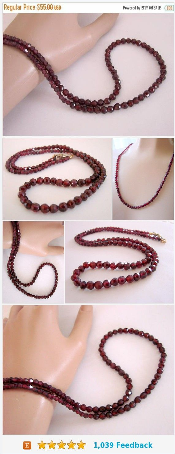 SALE Vintage Natural Faceted Garnet Bead Necklace * Wedding * Bridal * Jewelry * Jewellery https://www.etsy.com/JoysShop/listing/570404701/sale-vintage-natural-faceted-garnet-bead?ref=shop_home_feat_2