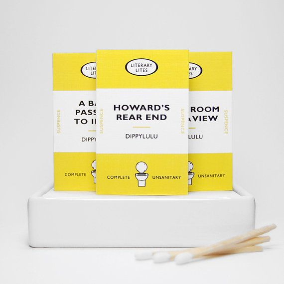 Funny gag gift matchboxes -- Literary Lites V. Novelty matchboxes for literary lovers. Hilarious book jokes.