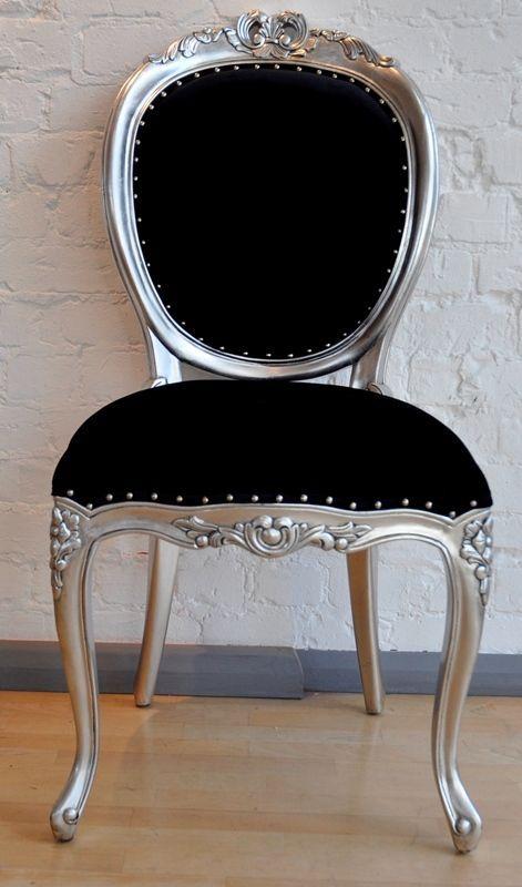 black tufted upholstered bed silver leaf | The Versailles Diner Chair - Silver Leaf & Matt Black