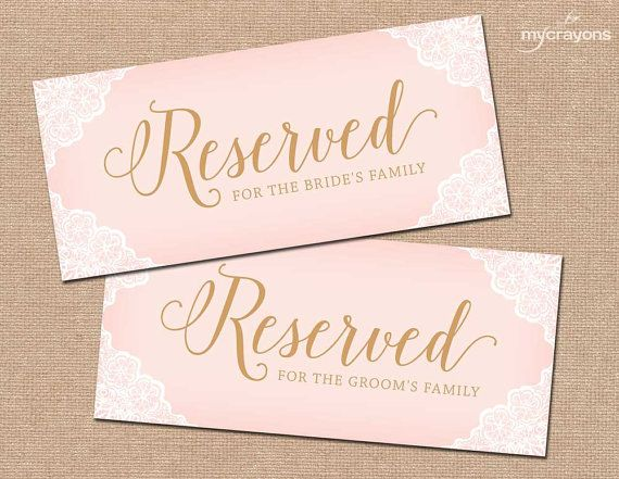 Printable Reserved Chair Sign Wedding Table For Family Blush Pink And Gold