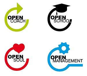Varumärkeslogotyper för Open Coach.