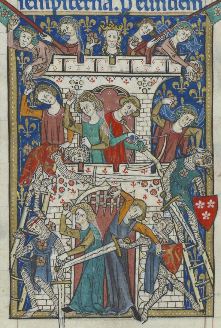 Las chicas son guerreras.Peterborough Psalter 1300-1325