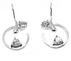 Cercei argint rodiat 925, design italian, cu pietre zirconia albe. Inchidere clasica