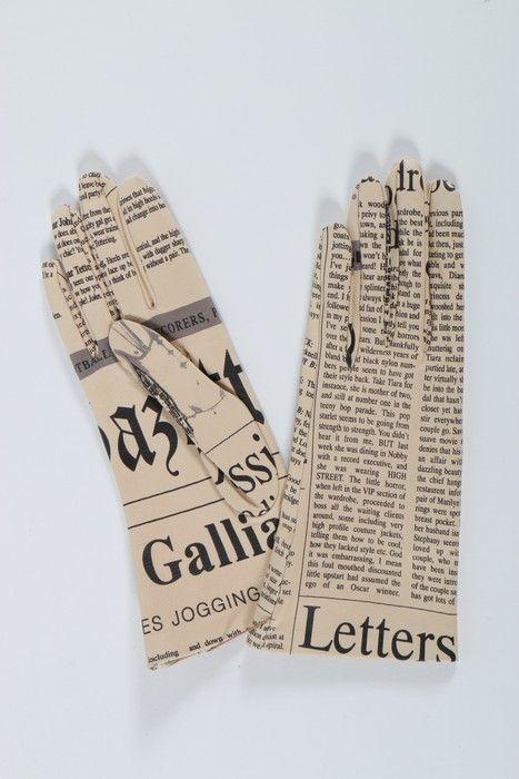John Galliano newspaper print leather gloves, 2001.