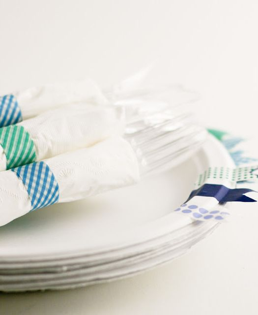 DIY - washi tape party decor ideas from Flax and Twine
