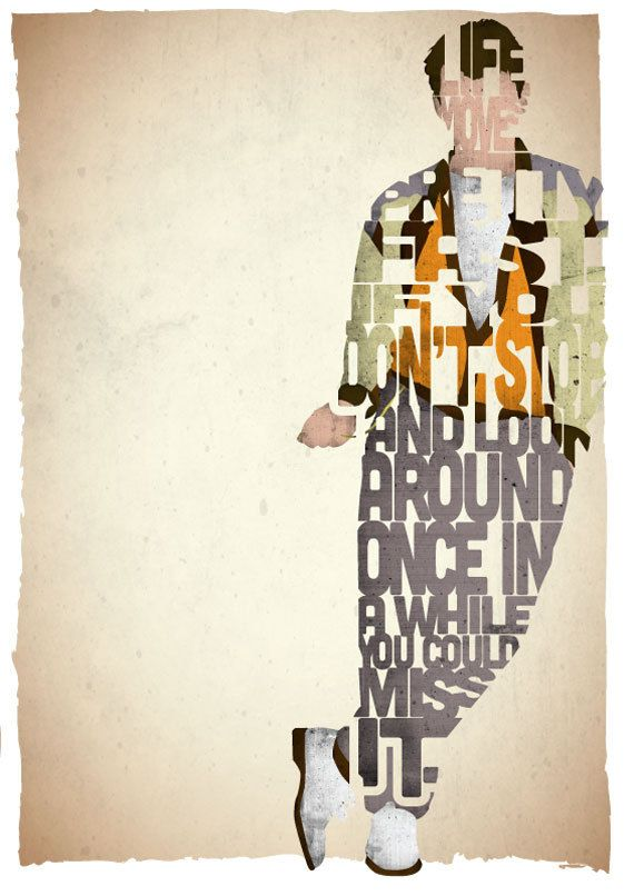 STANDARD SIZE Ferris Bueller typography print based on a