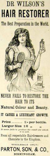 1895 Ad Antique Victorian Dr Wilson Hair Restorer Tonic Care Color Lady Corset | eBay
