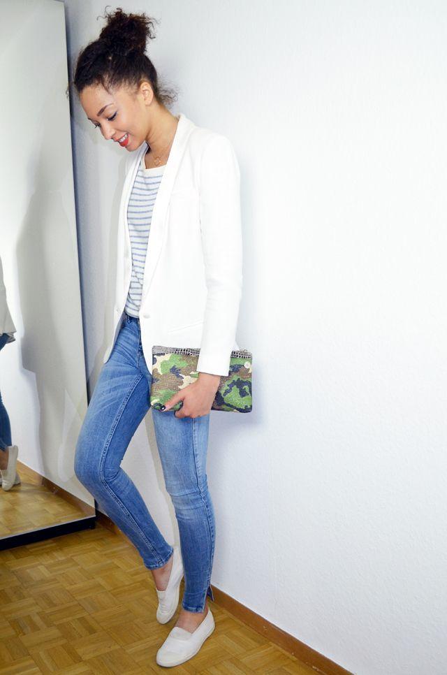#mercredie #blog #fashion #mode #geneva #geneve #mariniere #stripes #white #blazer #look #inspiration #outfit #lafayette #collection #perfect #slim #skinny #denim #jean #zara #zip #catherine #membre #camouflage #pochette #bag #white #bensimon #chaussures #shoes