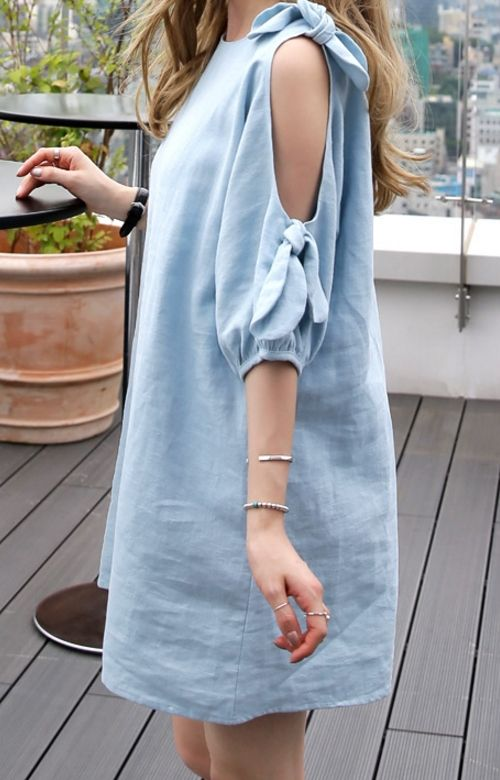 Cold Shoulder Knot Tie Mini Dress