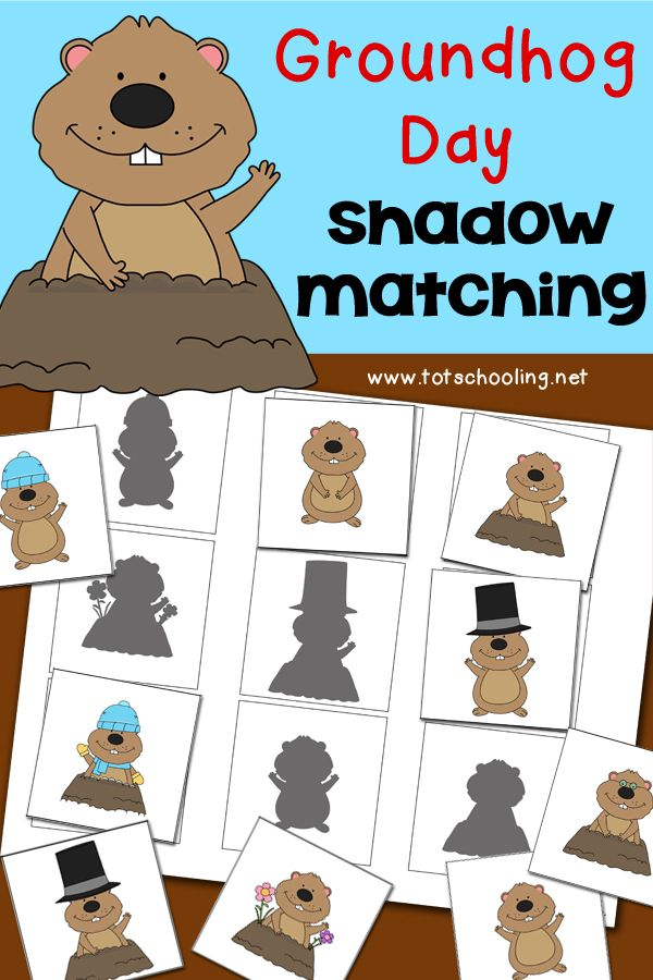Match the groundhog to its shadow in this free printable visual discrimination activity for toddlers and preschoolers!