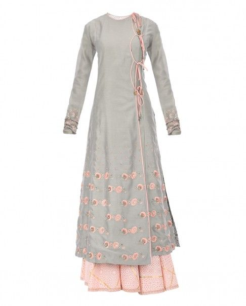 Anju Modi Grey Blend Embroidered Kurta with Sharara Pants and Dupatta