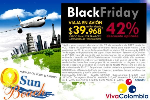 Promoción para Viajar solo por Hoy en Colombia con el Black Friday de la Aerolínea VivaColombia. #Reserveplandeviaje desde #Cali o en www.sunbeachcali.com