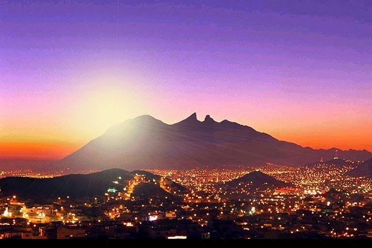 Monterrey, Mexico, the city that doesn't seem to sleep, with the sunrise by the Cerro de la Silla, the mountain I call home.