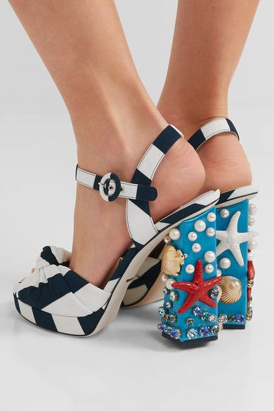 Heel measures approximately 120mm/ 5 inches with a 20mm/ 1 inch platform Navy and white canvas Buckle-fastening ankle strap Made in Italy