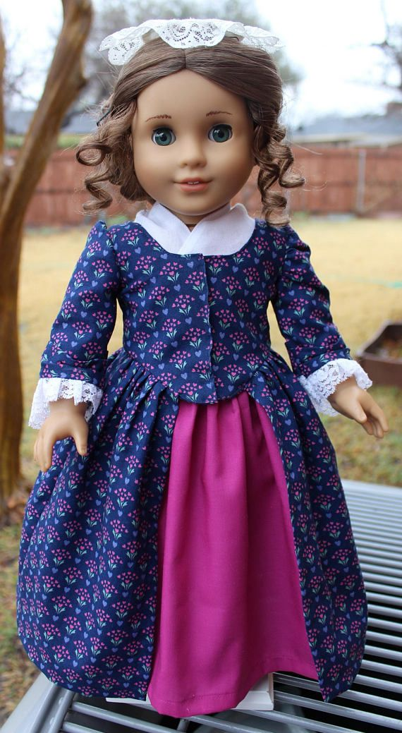 "$32.95 1700's En Forreau"" Style Gown for American Girl Felicity, Elizabeth, by Designed4Dolls on Etsy"