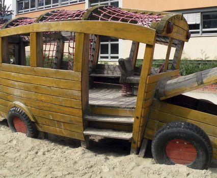 School bus playground in Berlin, Germany -- from our wooden playground series.