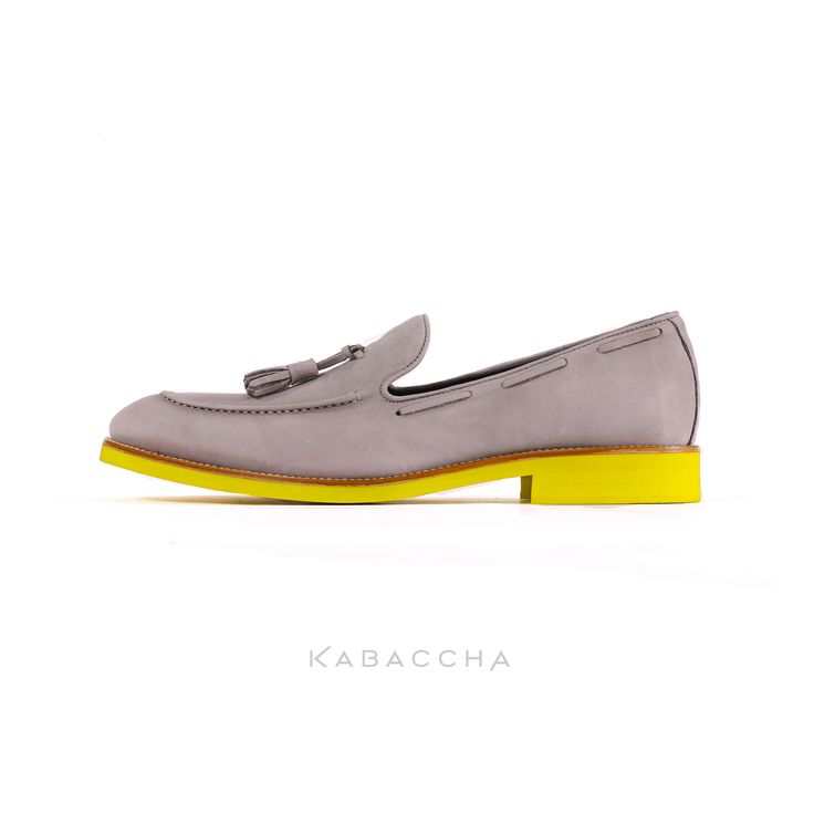 Kabaccha Shoes  // Light Grey Nubuk Suede & Yellow Sole #KabacchaShoes #Loafers