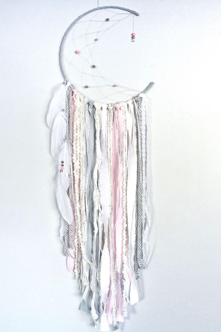 Pink, Silver and grey crescent moon dreamcatcher, dream catcher, moon catcher, unique wall decor, nursery wall decor, nursery dreamcatcher by autumnandlilydesigns on Etsy https://www.etsy.com/ca/listing/577517304/pink-silver-and-grey-crescent-moon