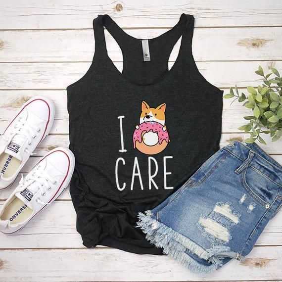 I Donut Care Tank Top, Donut Corgi Tank Tops for Women, Dog Yoga Workout Tanks, ... 11
