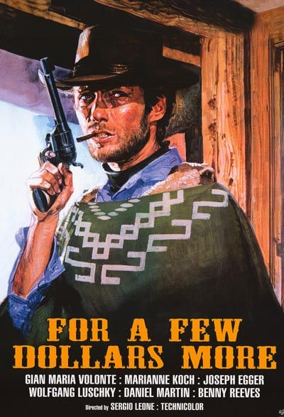 A great movie poster from Sergio Leone's classic 1965 spaghetti western sequel to A Fistful of Dollars - For A Few Dollars More! Starring Clint Eastwood. Ships fast. 24x36 inches. Need Poster Mounts..