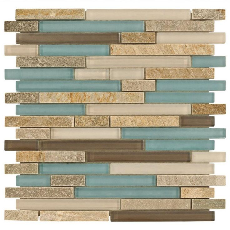 Santiago Mix Stick Glass and Stone Mosaic - 12in. x 12in. - 913500567 | Floor and Decor