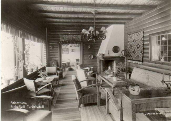 Telemark fylke Kviteseid kommune Peisestuen Brokefjell Turisthotell 1950-tallet Utg Johnsrud Foto