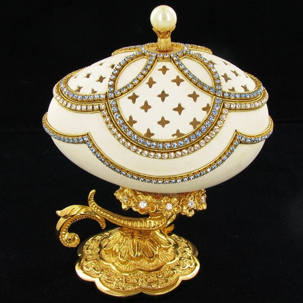 Fabrege Style Crystal Decorated Egg Ring Box. Once in love with Faberge, always a collector of eggs.