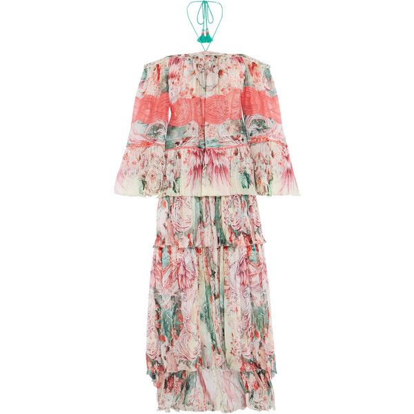 Roberto Cavalli Phoenix off-the-shoulder plissé printed silk-chiffon... ($5,125) ❤ liked on Polyvore featuring dresses, gowns, feather gown, off the shoulder dress, off the shoulder evening gown, off the shoulder gown and pink off the shoulder dress