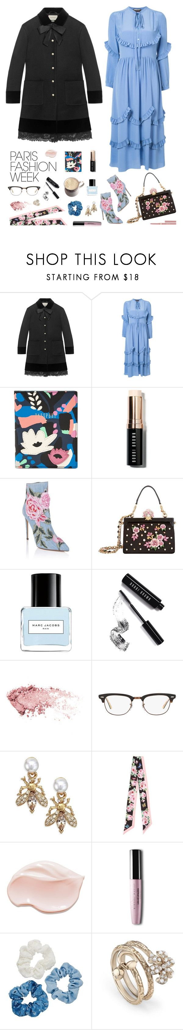 """paris pastels"" by hist24jpcs ❤ liked on Polyvore featuring Gucci, Rochas, FOSSIL, Bobbi Brown Cosmetics, Dolce&Gabbana, Marc Jacobs, Ray-Ban, Oscar de la Renta, Mudd and Stila"