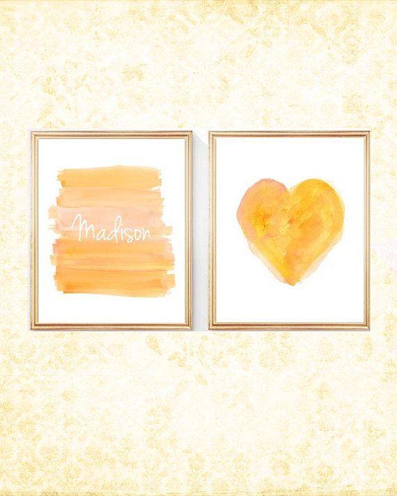 Yellow Nursery Decor Yellow Girls Decor by OutsideInArtStudio