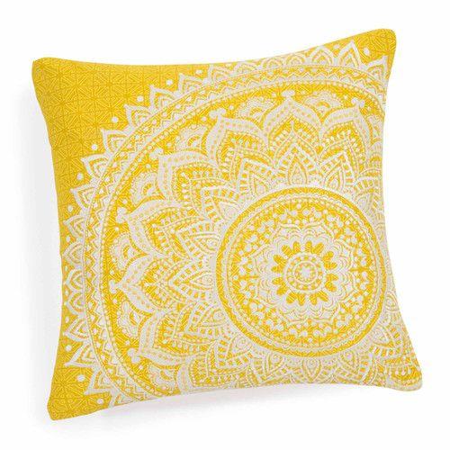 Housse de coussin en coton jaune 40 x 40 cm HOLIS