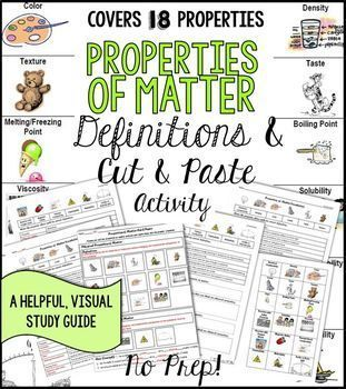 No Prep Physical and Chemical Properties of Matter Definitions and Cut and Paste Activity ... great visuals and graphic organizer study guide for students
