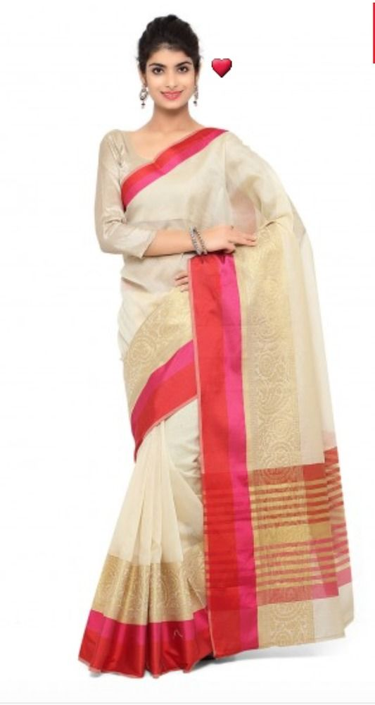 Beige Chanderi cotton silk Saree with Beige Blouse Piece #unbranded #Sari