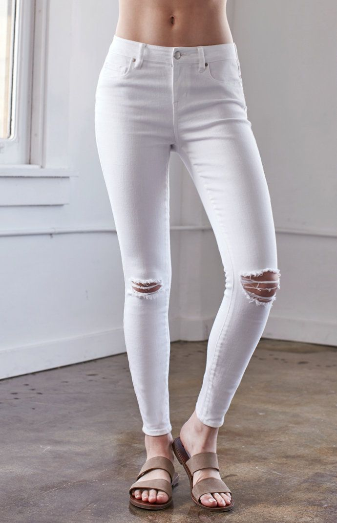 Worn White Ripped Mid Rise Skinny Jeans