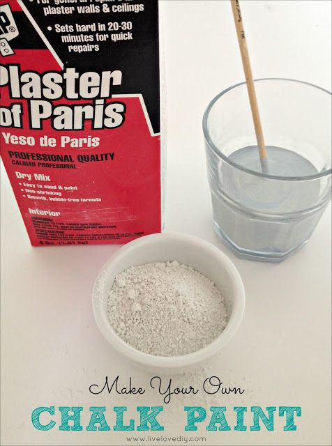 Make your own chalk paint by using plain interior paint mixed with Plaster of Paris. You can find Plaster of Paris at Home Depot or Lowe's and it's really cheap. All you do is mix 5 tablespoons of Plaster of Paris with 2 cups of paint and 2 tablespoons of water. Just combine ingredients and stir well. It may even be a little lumpy, but that's okay. Once you brush it on, it evens out.