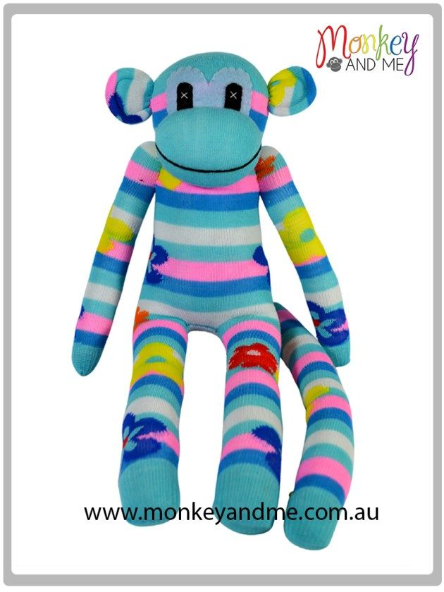 Blue Pink White flower Sock Monkey Adopt over at monkeyandme.com.au #sockmonkeys #gifts #toys #monkey