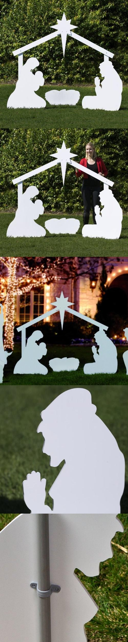 Outdoor Nativity Store Large Silhouette Outdoor Nativity Set - Holy Family Scene, Share the meaning of Christmas with a subtle grandiosity. Nearly life-size, the Large Silhouette Outdoor Nativity Set Series is perfect for churches or large yards - in any winter climate. The Holy Fa..., #Outdoor Living, #Outdoor Statues