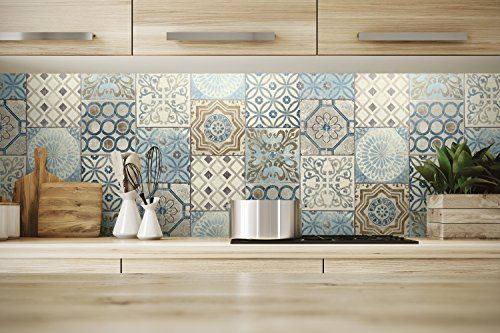 Nextwall Moroccan Style Peel And Stick Mosaic Tile Wallpaper Blue Copper Grey Amazon Com 34 Moroccan Tile Diy Kitchen Projects Kitchen Wallpaper