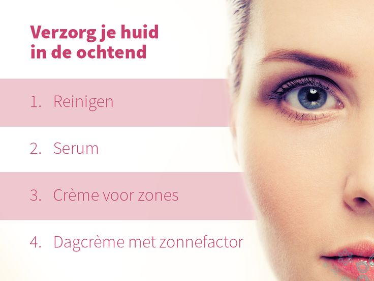 • Reinigen: Start met je huid reinigen. De olie lost overtollig vet op, de actieve stoffen het vuil en het water voert alles weer af. Het reinigen sluit je af met een tonic. Tonic brengt de pH van je huid weer in balans. • Verzorgen met een serum: Met een serum zorg je voor extra hydratatie van je huid. Het verbetert de vochtcirculatie tussen de huidcellen. • Crème voor zones: Speciale crèmes (zoals oogcrème) breng je over je serum aan. • Dagcrème: Als laatste stap breng je een dagcrème aan.