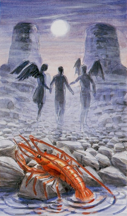 XVIII-The Moon - Tarot of the Angels - interesting depiction of XVIII-The Moon #tarot #card #art
