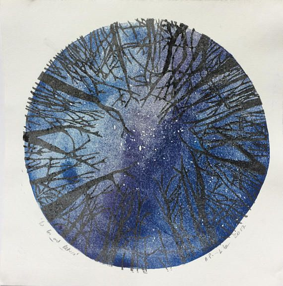 Time: arrivals and departures - universe star gazing lino print